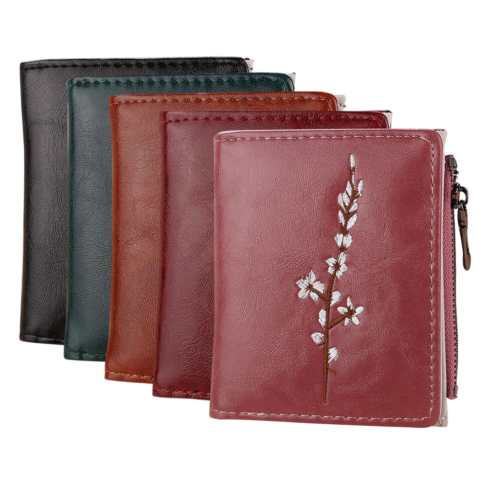 New Arrival Vintage Embroidery Flowers Lady PU Coin Purse Money Bag Small Wallets Fashion Women Female Hasp Zipper Short Wallet цена