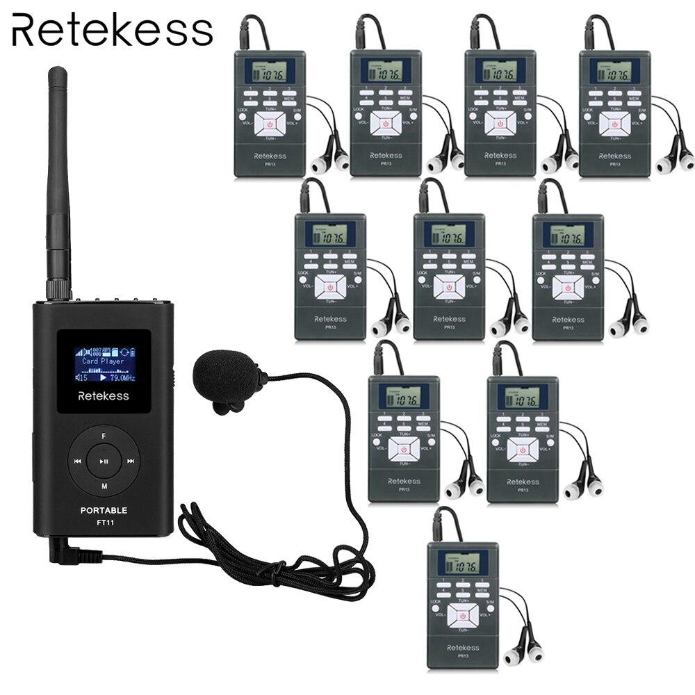Retekess 1 FM передатчик + 10 FM радио приемник PR13 беспроводной гид системы для руководства встречи синхронного перевода