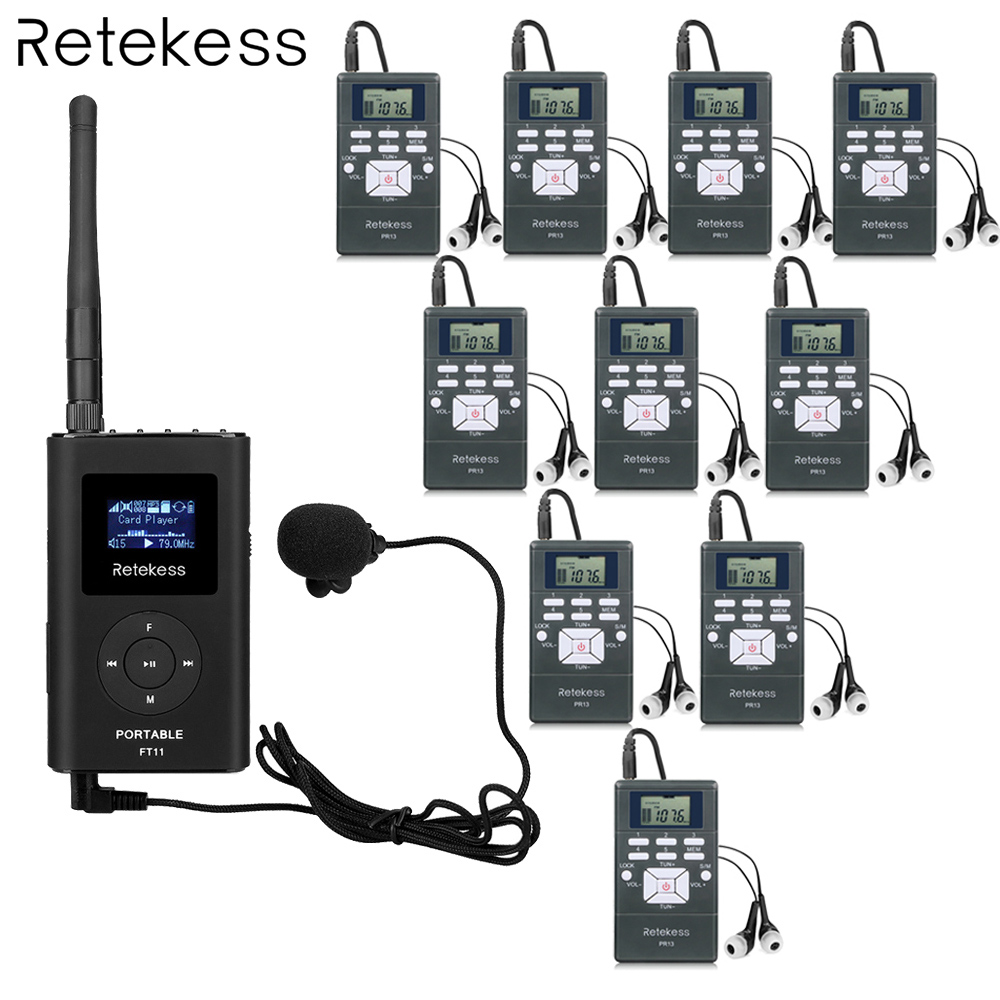 Retekess 1 FM Transmitter +10 FM Radio Receiver Wireless Tour Guide System for Guiding Meeting Simultaneous Interpretation F9213 100pcs pr13 dsp portable fm radio receiver pocket radio for large meeting simultaneous interpretation with earphone f9213