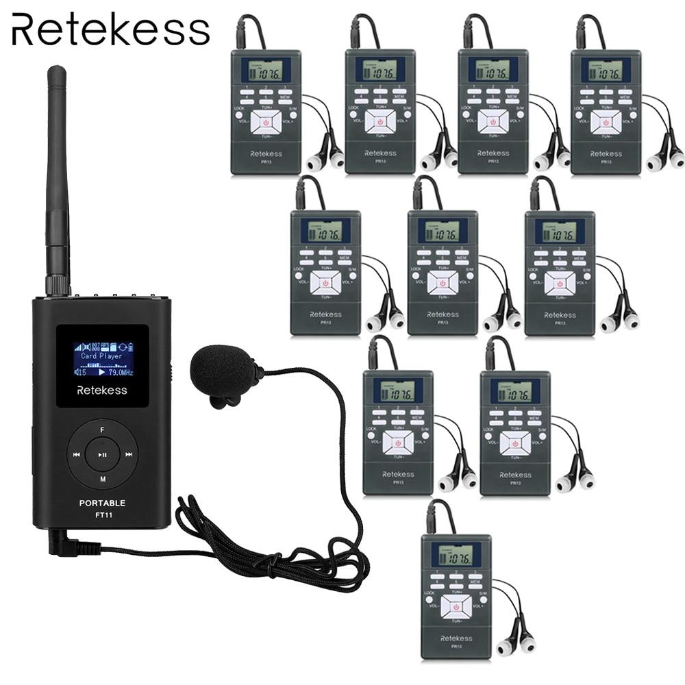 Retekess 1 FM Transmitter +10 FM Radio Receiver PR13 Wireless Tour Guide System for Guiding Meeting Simultaneous Interpretation