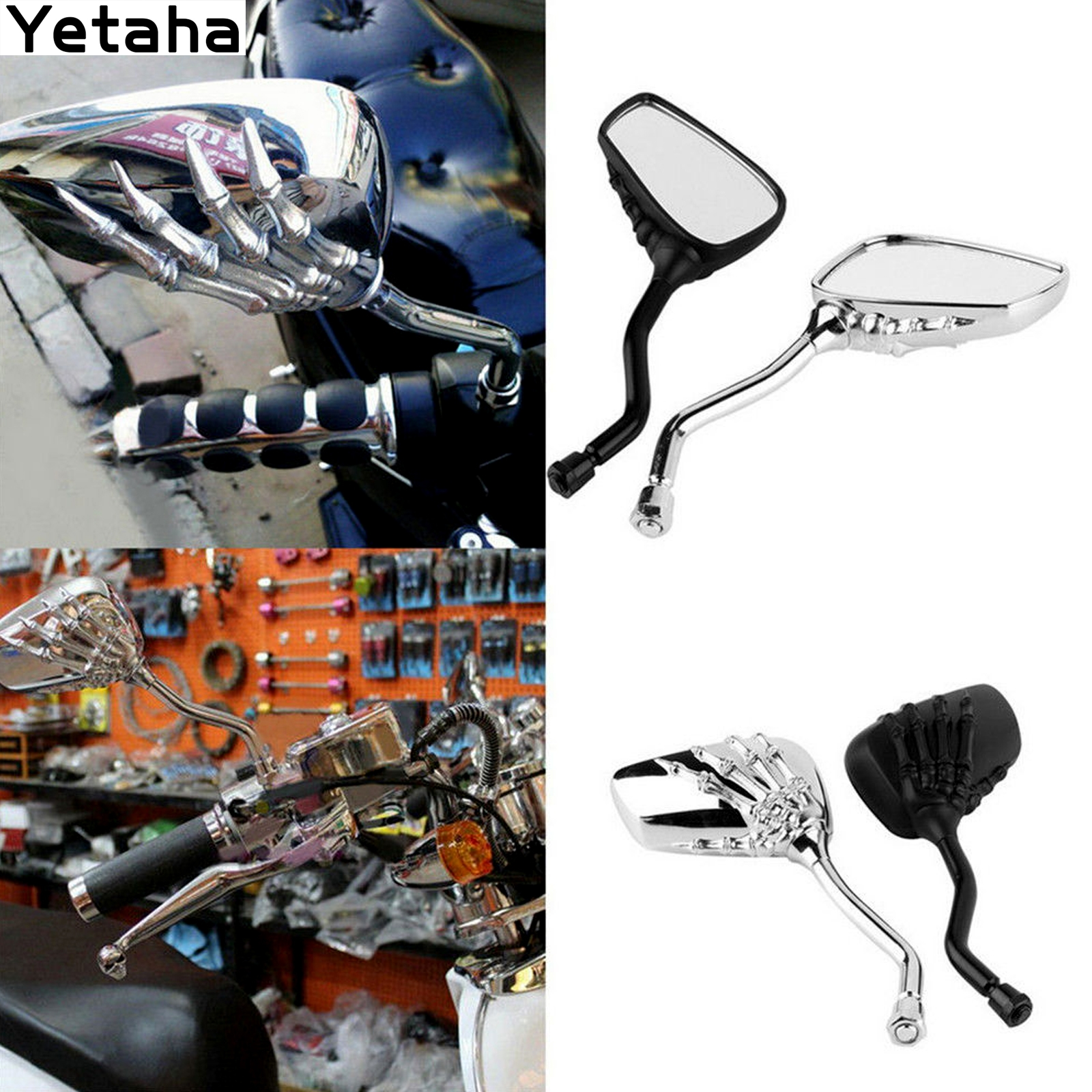 Motorcycle Skeleton Skull Hand Claw Shadow Rearview Side Mirrors 10mm//8mm Blue
