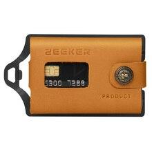 ZEEKER tarjetero de Metal para tarjetas, billetera minimalista de cuero, bolsillo frontal, color caqui