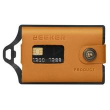 ZEEKER حامل بطاقة الهوية المعدنية بطاقة الائتمان محافظ جلدية محفظة صغيرة الحجم الجبهة محفظة جيب الكاكي