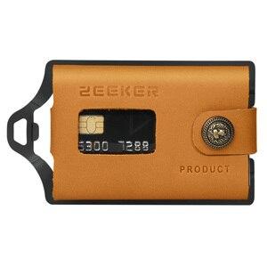 Image 1 - ZEEKER металлический держатель для карт, кошельки для кредитных карт, Кожаный минималистичный кошелек, кошелек с передним карманом цвета хаки