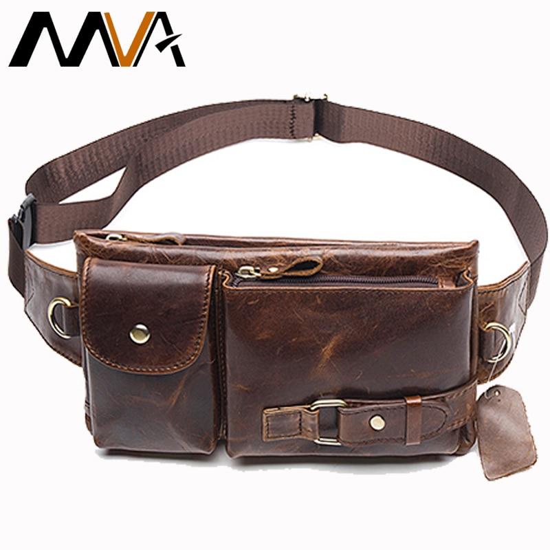 MVA New Men Brand Casual Waist Pack Male Bag Genuine Leather Shoulder Luxury Fanny Packs Men Belt Bag Pouch For Money Phone 9080