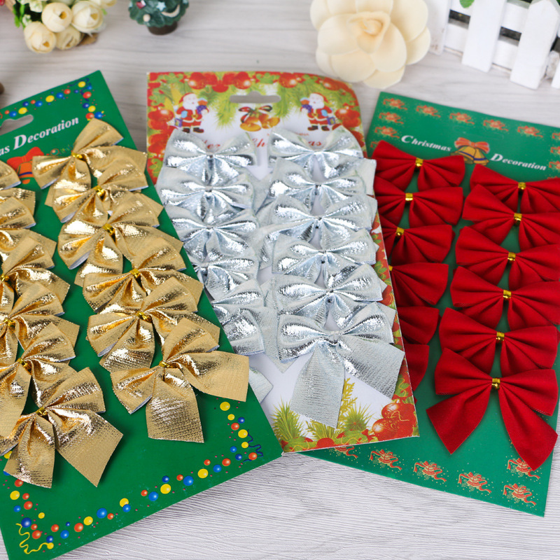 12pcs Christmas Tree Decorations Hanging Drop Ornament Pendant Small Bow Natal Petit Noeud Decoration Papillon Bowknot Gift Bows