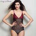 Mousse Fino Elástico Sexy Bodysuits Mulheres shapers Quentes sensuais Rendas Colete Sexy Profundo Decote Em V calcinha Shaper Shapewear Roupa Interior Das Mulheres