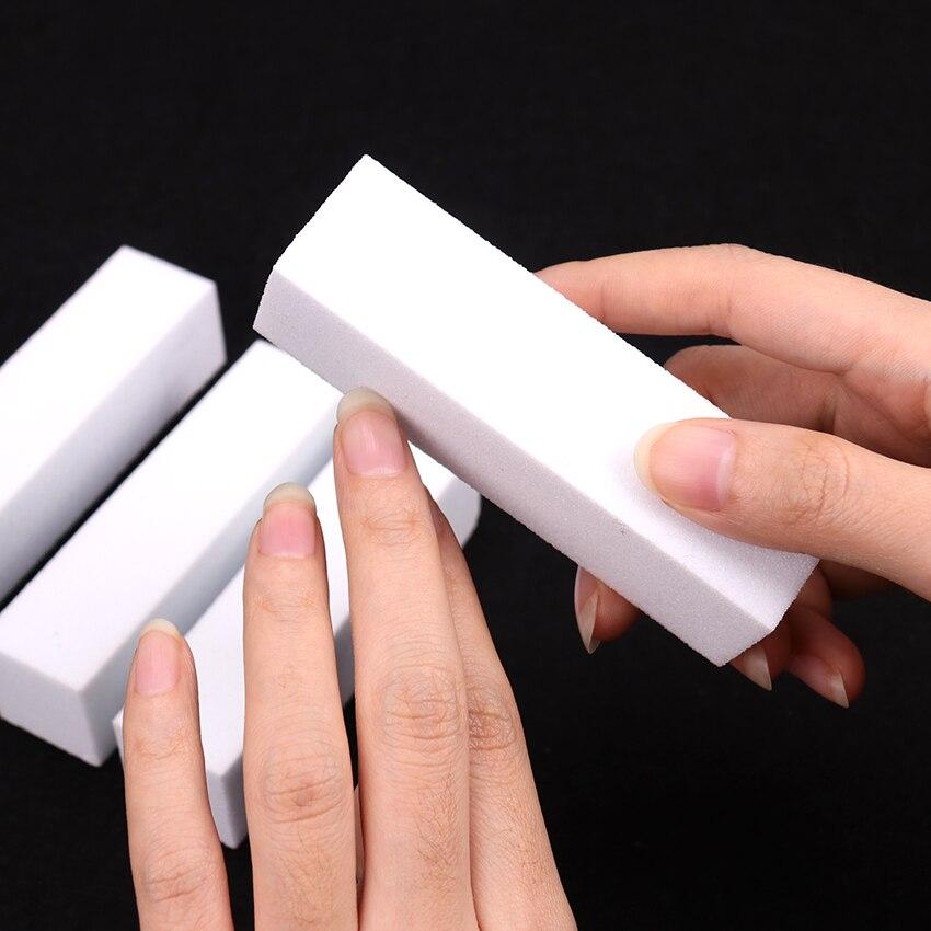 10PCS Sanding Sponge Nail Buffers File For UV Gel White Nail File Buffer Block Polish Manicure Pedicure Sanding Nail Art Tool