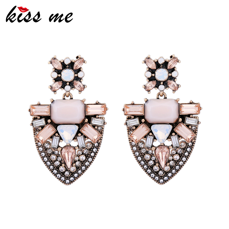 KISS ME Pink Geometric Crystal Earrings for Women 2017 Statement Earrings Alloy Vintage Jewelry Accessory pair of vintage alloy emboss beads triangle earrings for women