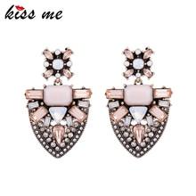 KISS ME Pink Geometric Crystal Earrings for Women 2017 Statement Earrings Alloy Vintage Jewelry Accessory джинсы kiss pink kiss pink ki011ewaton0