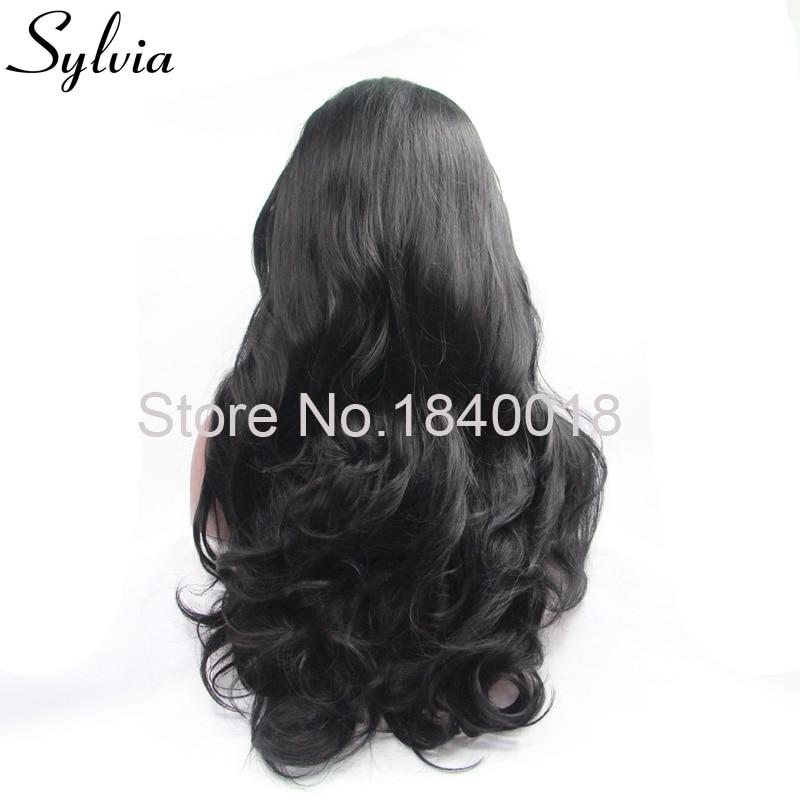 sylvia 1b svart kroppsvåg syntetisk spets främre peruker för - Syntetiskt hår - Foto 3