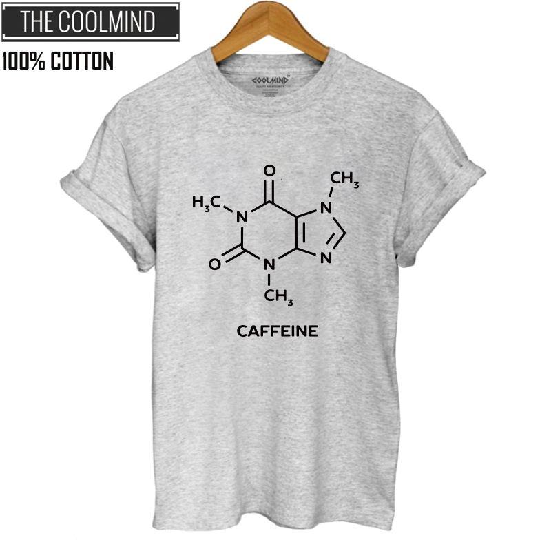 COOLMIND QI0260B 100% Cotton Caffeine Print T Shirt Women Casual Short Sleeve T-shirt Summner Loose Women Tshirt Female Tops Tee