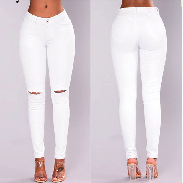c03af0f5f27 2018 white ripped jeans for women New Stretchy Blue Ripped Jeans Woman Denim  Pants Trousers For Women Pencil Skinny Jeans women