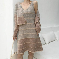 Two Piece Set 2018 Winter Autumn Sweater Dress Women Striped V Neck Cape Tank Knitted Dress Casual Robe Femme Conjunto Feminino