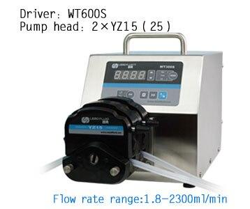 WT600S 2xYZ15 High Flow rate Adjustable Peristaltic Pump Industrial Lab dosing Tubing Peristaltic Pump 1.8-1700ml/min peristaltic plus s с 1 мес 2 шт