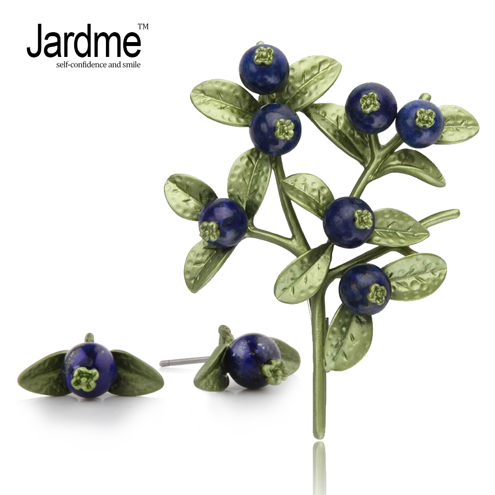 Jardme Vintage Earring Brooch Jewelry Sets Resin and Natural Bluestone Blueberry Green Leaves Women's Wedding Accessories
