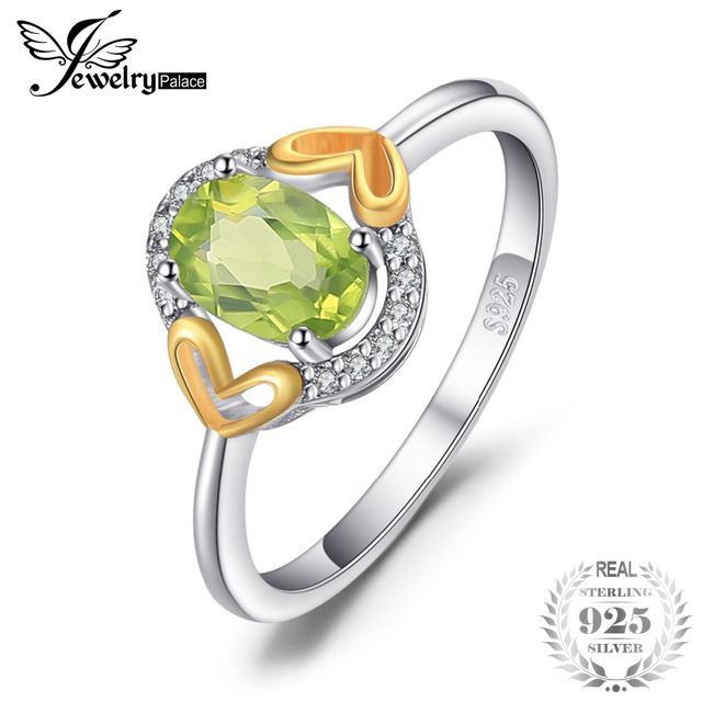 JewelryPalace Luxury 1.3ct Genuine Gemstone Peridot Ring Heart Two Colors 925 St
