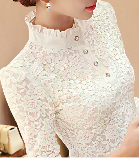 Nieuwe 2016 Herfst Vrouwen Lange Mouwen Mode Kant Bloemen Patchwork Chiffon Blouse Shirts Casual Slanke Tops Blusas