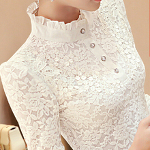 New 2016 Autumn Women Long Sleeve Fashion Lace Floral Patchwork Chiffon Blouse