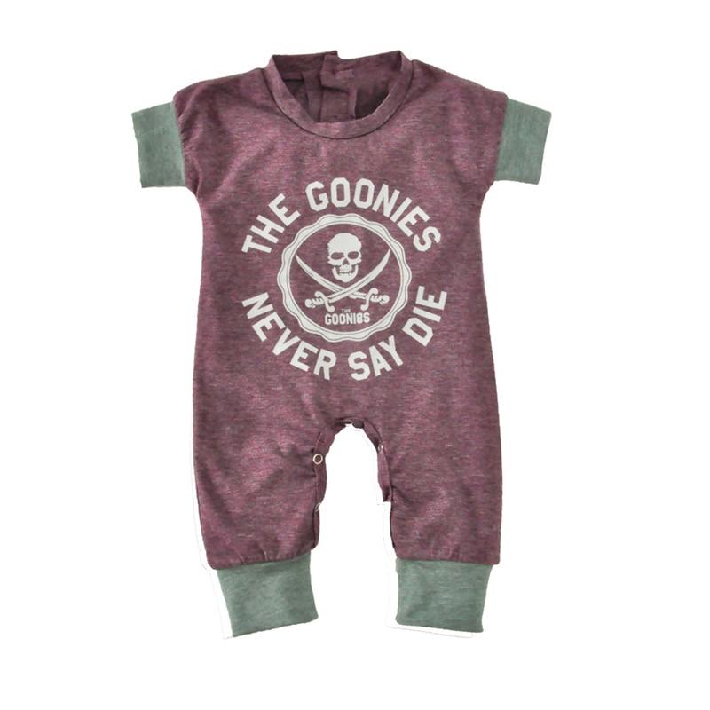 Newborn Baby Jumpsuits Summer Cartoon Skull Boys Girls Romper For Infant One-piece 2018 New Short Sleeve Letter Kids Baby Romper