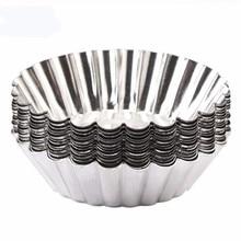 FEIGO 10Pcs/set Tinplate High Temperature Resistance Egg Tart Mold Reusable Easy To Clean Non-Stick Cup Cake Baking Tools F722