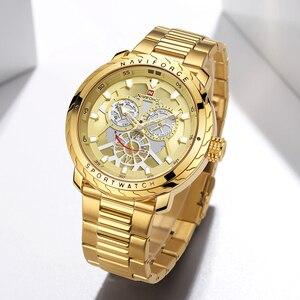 Image 3 - Naviforce 럭셔리 브랜드 시계 남자 골드 쿼츠 스포츠 방수 군사 손목 시계 시계 전체 스틸 시계 relogio masculino