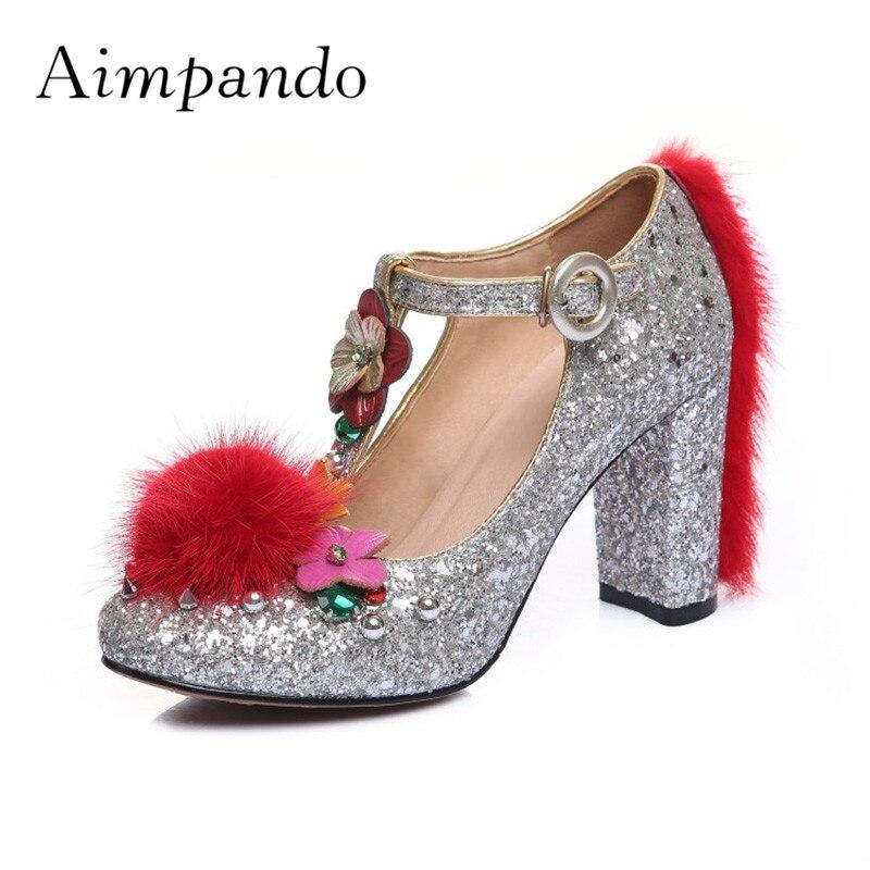 e972ec366 Mulheres Casamento Bling Sapatos Azul Que Pé Flor Strass Lantejoulas prata  Dedo Do De 2019 T Pele Mulher Redondo Bombas Salto strap Alto DHYW2EI9