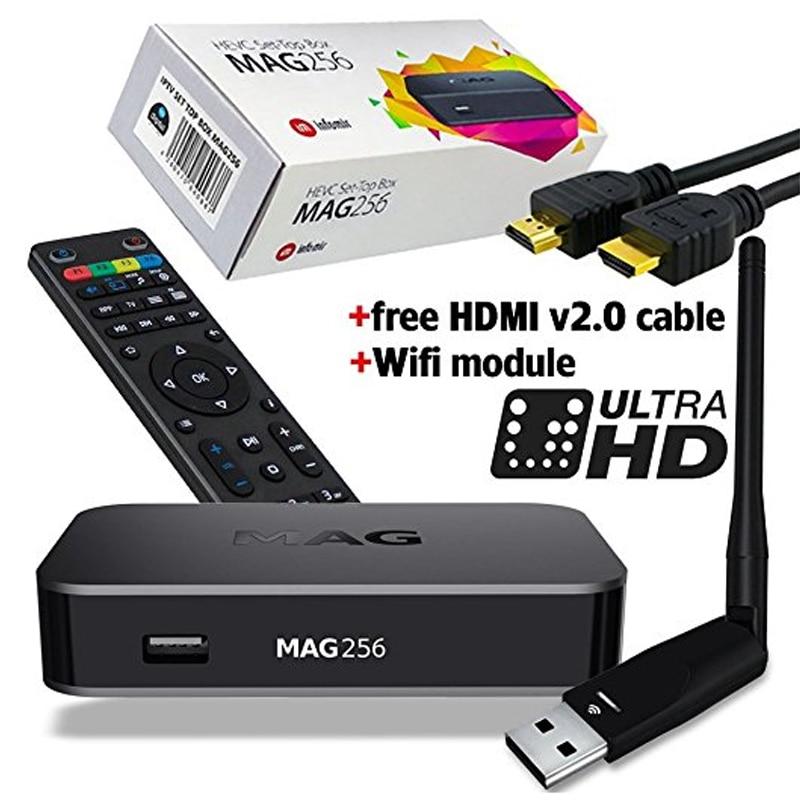 50pcs mag 256 original iptv set top box multimedia player internet tv ip receiver hevc. Black Bedroom Furniture Sets. Home Design Ideas