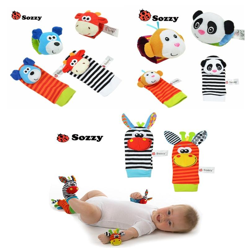 2016 New Hot Wholesale High Quality Animal Cartoon Cotton sock Newborn Baby Boys and Girls Socks Wrist Strap with Rattle ...