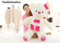Stofftier liebe dich bear plüschtier große 100 cm weiß teddybär, rosa schal bär puppe throwkissen geburtstagsgeschenk b1017
