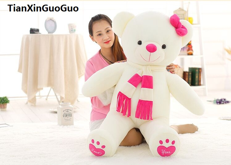 stuffed toy love you bear plush toy large 100cm white teddy Bear,pink scarf bear doll throw pillow birthday gift b1017 fancytrader seal plush baby doll large stuffed cartoon animal arctic seal toy white bear kids gift pillow 39inches 100cm