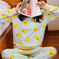 Мода весна Женщины B. Duck девушки Пижамы Пижамы Костюмы Дамы С Длинным Рукавом Хлопок Симпатичные голубой Ночной Рубашке Пижамы женские Днища набор