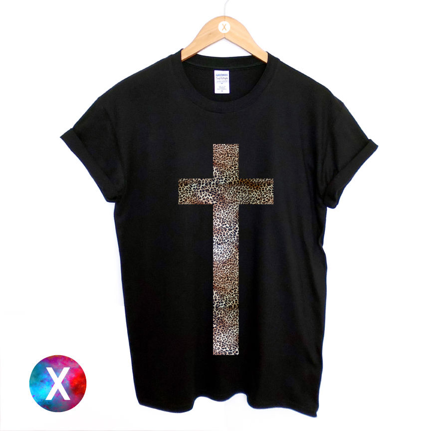 CROSS PRINTED BLACK T SHIRT MENS LEOPARD PRINTED HIPSTER TEE RELIGION SWAG TOP 100% cotton tee shirt, tops wholesale tee
