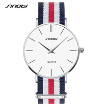 SINOBI Unisex Wristwatch Simple Fashion Men's Wrist Watches NATO Strap Nylon Watchband Top Luxury Brand Male Geneva Quartz Clock