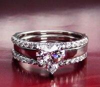1 карат SONA Имитация Алмазный Сердце Обручальное кольцо для женщин ювелирные изделия Свадьба Promise Ring Set (bb)