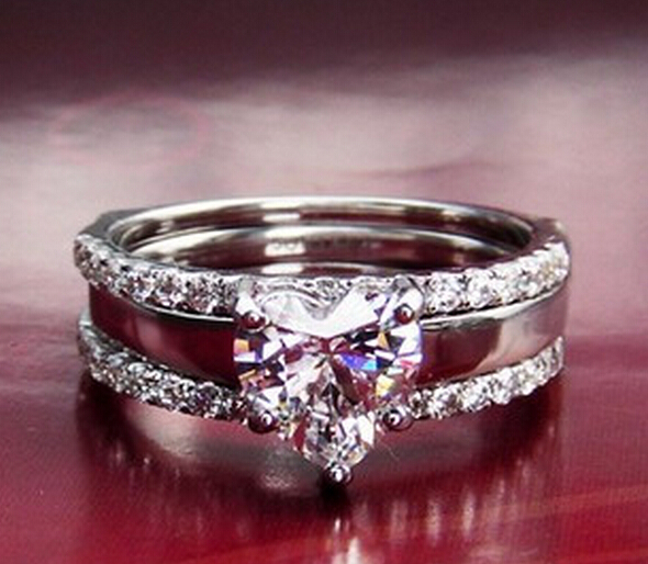 1 carat sona simulated diamond heart engagement ring for women jewelry wedding promise ring set