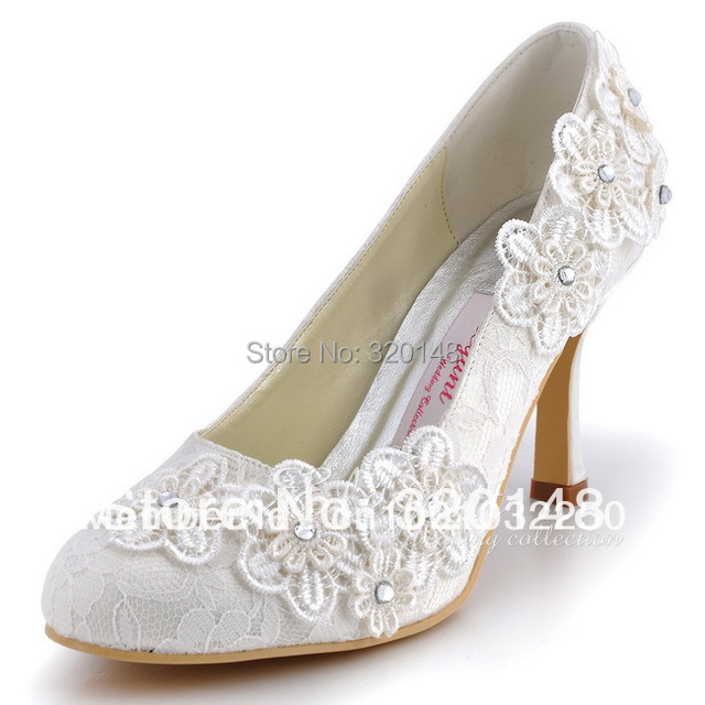 Elegant Shoes For Bride Ep11099 Ivory Cutouts Round Toe 3 5inch High Heel Flower Lace Wedding