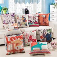 Cozzy Cartoon Animal Characters Pattern Cotton Linen Decor Pillow Case Cushion Cover For Sofa Kids Room