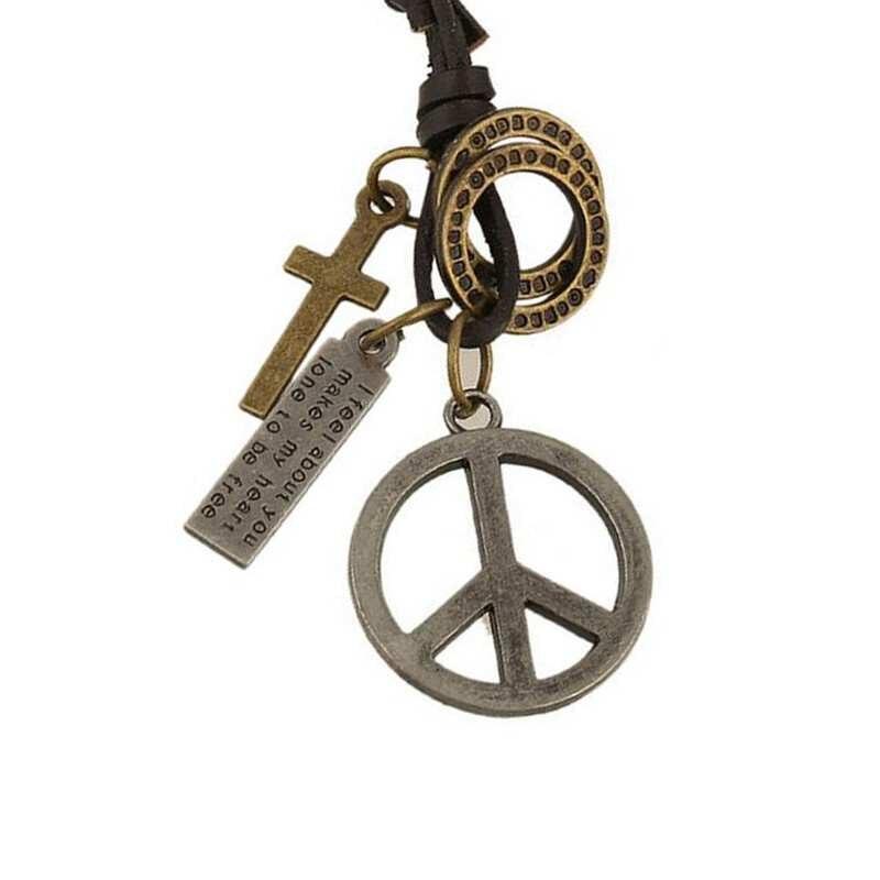 Antique Vintage Cross Dog Tag Hollow Peace Symbol Pendant Necklace Men Long Brown Leather Necklace Cord Men Jewelry Accessories peace locket