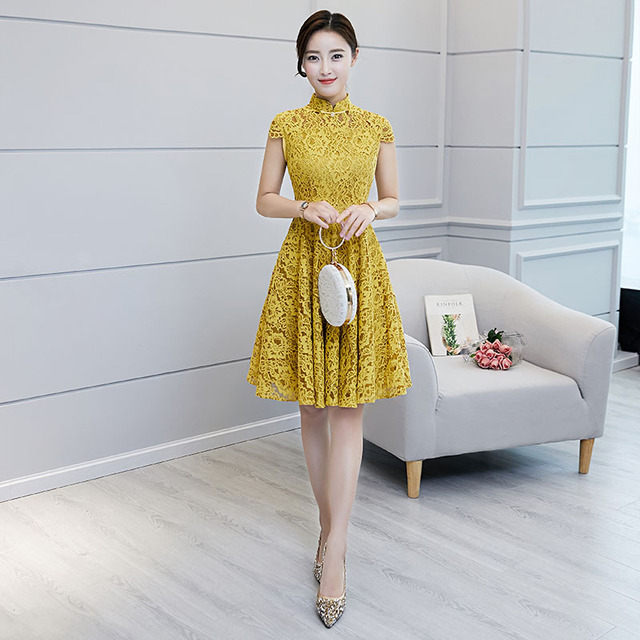 f027ef68643 2018 New Yellow Traditional Chinese Women Drees Vintage Lace Slim A-Line  Qipao Novelty Knee-Length Sexy Cheongsam S-XXL