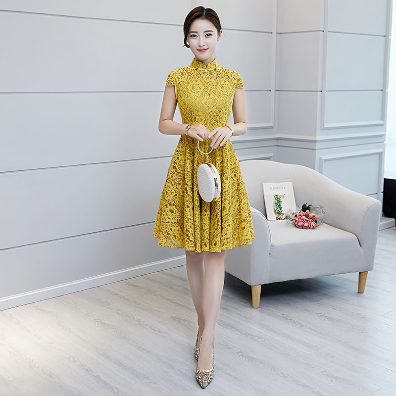 2018 New Yellow Traditional Chinese Women Drees Vintage Lace Slim A-Line Qipao Novelty Knee-Length Sexy Cheongsam S-XXL ...