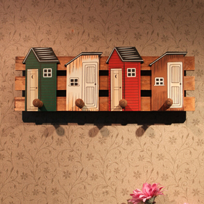 Vintage Multi Function Wood Storage Shelf With Hooks Retro