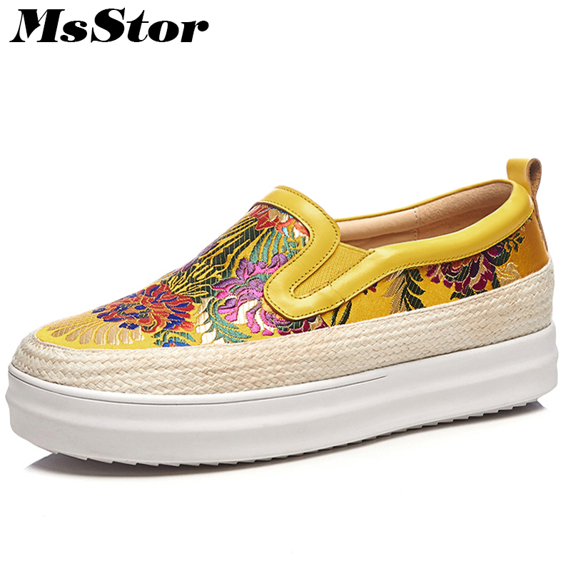 MsStor Women Embroider Shoes Fashion Mixed Colors Loafers Casual Women Flats Spring Round Toe Slip-On Women Thick Bottom Shoes hot 2017 new fashion womens weave shoes spring summer mixed color breathable casual shoes flats slip on loafers tenis feminino