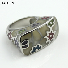 LYCOON Woman summer Ceramic Rings high quality 316L Stainless steel Imported Enamel colorful flower sliver color Resin ring