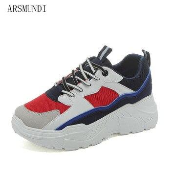 3b1646fe5 ARSMUNDI 2018 Для женщин; кроссовки на высокой платформе; весенние Женские белые  туфли повседневная обувь удобные белые туфли из сетчатого матери.