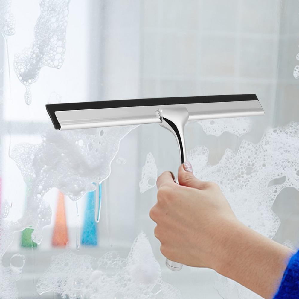 Home Hotel Stainless Steel Zinc Alloy Window Car Windshield Washing Glass Scraper Brush Mirror Cleaning Tool With Hook