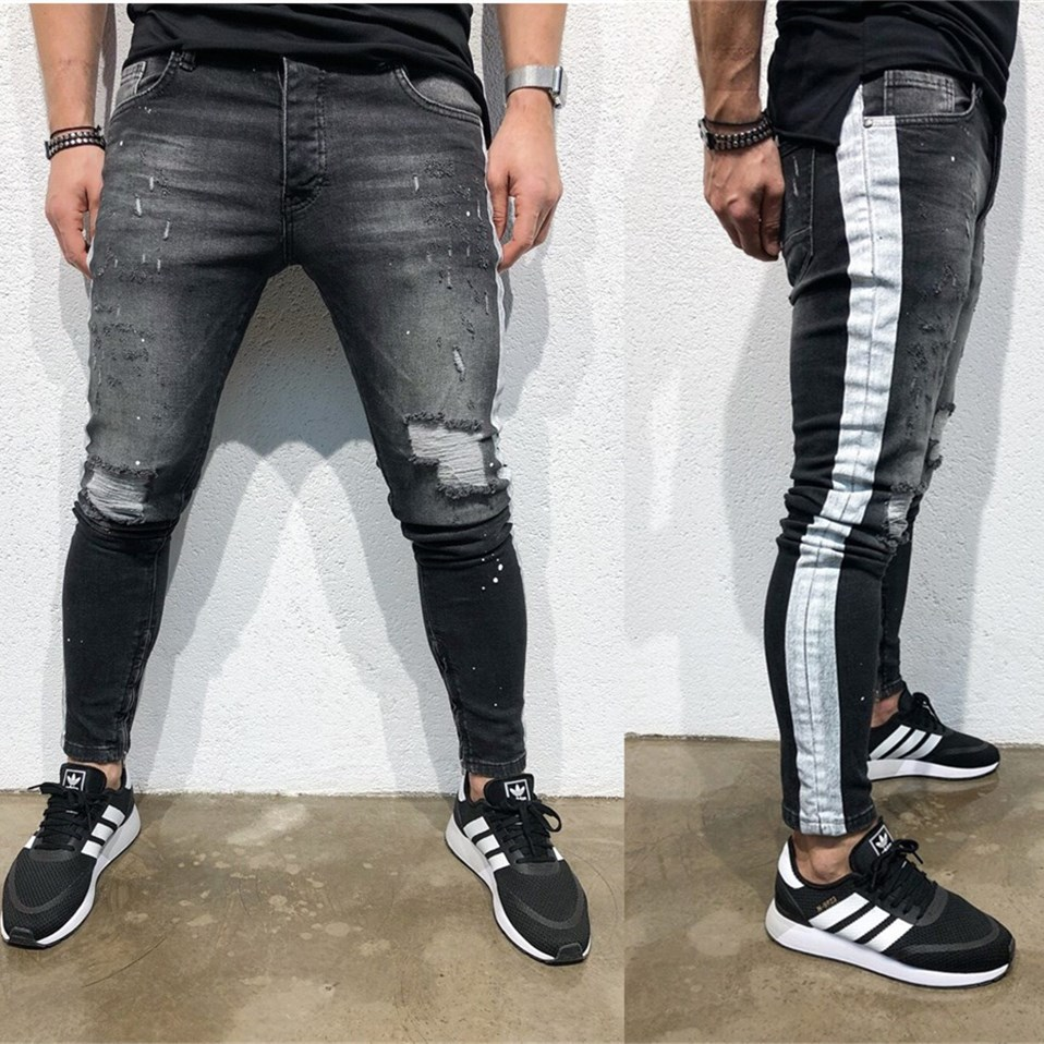 Men's Broken Feet Jeans Stitching Side Print Jeans Slim Fit Men's Pants