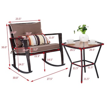 3 Pièces Patio Rotin Ensemble De Meubles En Osier Chaise à Bascule Table Basse Moderne De Haute Qualité Jardin Extérieur Patio Meubles HW57335
