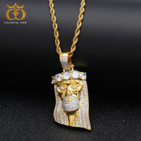 Iced Out Religious Jesus Head Pendant Necklace Free Rope Chain Gold Color Bling copper Cubic Zircon Men's Hip Hop Jewelry