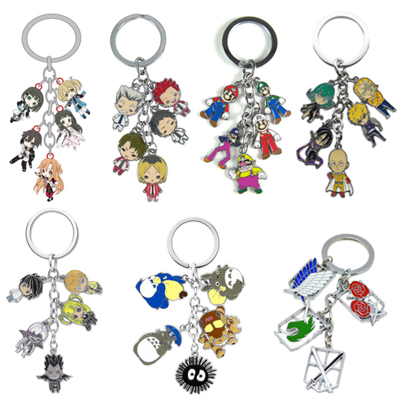 Anime Color Alloy Wallet Pendant Punch Superman My Hero Academia Death Note Keychain